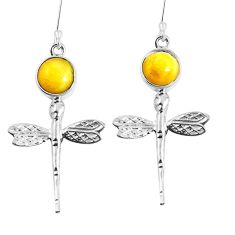 Yellow amber 925 sterling silver dragonfly earrings jewelry m72261