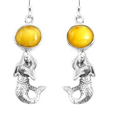 Yellow amber 925 sterling silver fairy mermaid earrings jewelry m72262