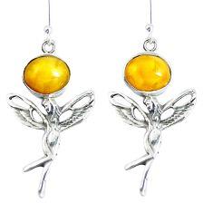 Yellow amber 925 sterling silver angel wings fairy earrings jewelry m72263