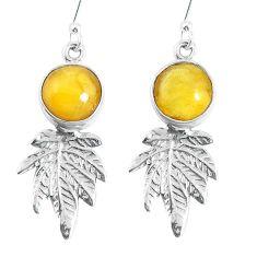 Yellow amber 925 sterling silver dangle deltoid leaf earrings jewelry m72264