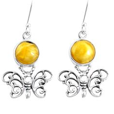 Yellow amber 925 sterling silver butterfly earrings jewelry m72265