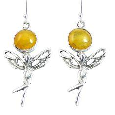 Yellow amber 925 sterling silver angel wings fairy earrings jewelry m72267