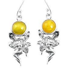 925 sterling silver yellow amber angel wings fairy earrings jewelry m72269