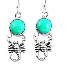 Natural green kingman turquoise 925 silver scorpion earrings m72288