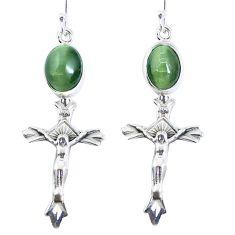Green cats eye 925 sterling silver holy cross earrings jewelry m72291