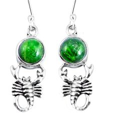 Natural green chrome diopside 925 sterling silver scorpion earrings m72293