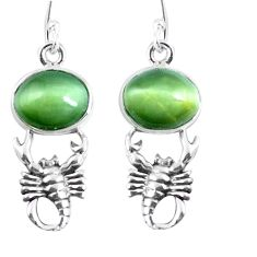 Green cats eye 925 sterling silver crab dangle earrings jewelry m72296