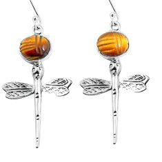 925 sterling silver natural brown tiger's eye dragonfly earrings m72304