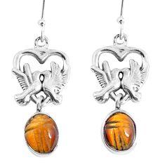 Natural brown tiger's eye 925 sterling silver love birds earrings m72310