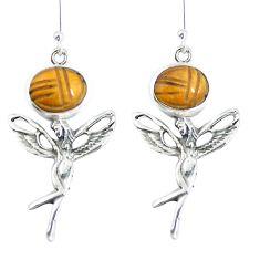 Natural brown tiger's eye 925 silver angel wings fairy earrings m72312
