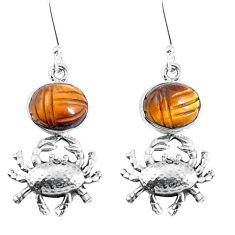 925 sterling silver natural brown tiger's eye crab earrings jewelry m72314