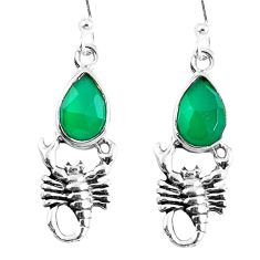 Natural green chalcedony 925 sterling silver scorpion earrings m72348