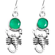 Natural green chalcedony 925 sterling silver scorpion earrings m72349
