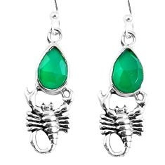 Natural green chalcedony 925 sterling silver scorpion earrings m72351
