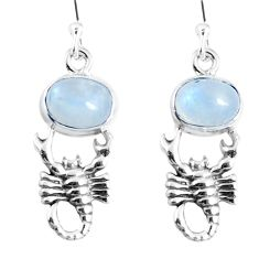 Natural rainbow moonstone 925 sterling silver scorpion earrings m72383