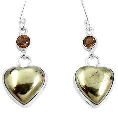 Natural golden pyrite in magnetite (healer's gold) 925 silver earrings m73170