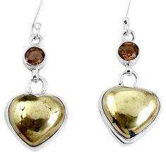 Natural golden pyrite in magnetite (healer's gold) 925 silver earrings m73171