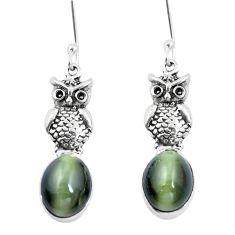 Green cats eye 925 sterling silver owl earrings jewelry m74161