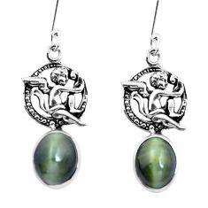 Green cats eye 925 sterling silver cupid angel wings earrings m74162