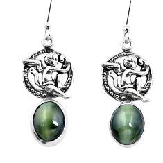 Green cats eye 925 sterling silver cupid angel wings earrings m74165