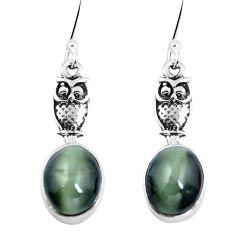 Green cats eye 925 sterling silver owl earrings jewelry m74166