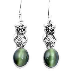 Green cats eye 925 sterling silver owl earrings jewelry m74167