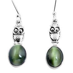 925 sterling silver green cats eye owl charm earrings jewelry m74168