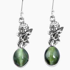 Green cats eye 925 sterling silver cupid angel wings earrings m74170