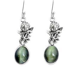 Green cats eye 925 sterling silver cupid angel wings earrings m74171