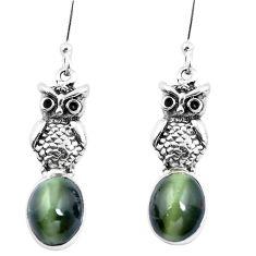 Green cats eye 925 sterling silver owl earrings jewelry m74177