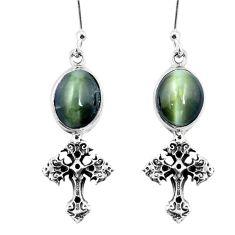 925 sterling silver green cats eye holy cross earrings jewelry m74178