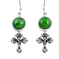 8.21cts natural green apatite (madagascar) 925 silver holy cross earrings m74189