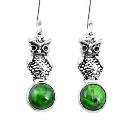 7.94cts natural green apatite (madagascar) 925 silver owl earrings m74190