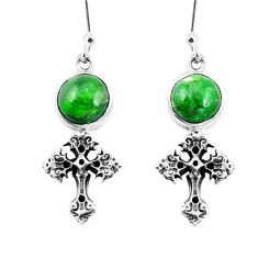 7.85cts natural green apatite (madagascar) 925 silver holy cross earrings m74192