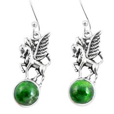 8.54cts natural green apatite (madagascar) 925 silver unicorn earrings m74196