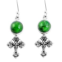7.86cts natural green apatite (madagascar) 925 silver holy cross earrings m74198