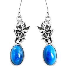 Natural blue apatite (madagascar) 925 silver cupid angel wings earrings m74214
