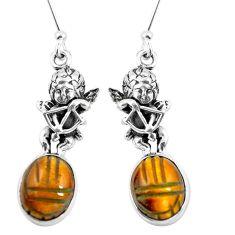 Natural brown tiger's eye 925 silver cupid angel wings earrings m74221
