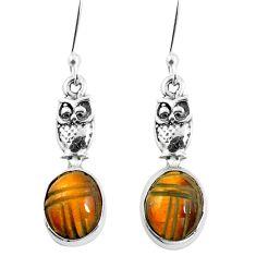 Natural brown tiger's eye 925 sterling silver owl earrings m74223