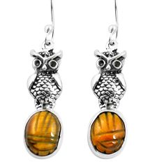 Natural brown tiger's eye 925 sterling silver owl earrings jewelry m74225