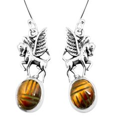 Natural brown tiger's eye 925 sterling silver unicorn earrings m74227