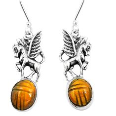 Natural brown tiger's eye 925 sterling silver unicorn earrings m74228