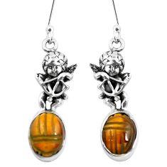 Natural brown tiger's eye 925 silver cupid angel wings earrings m74230