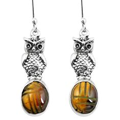 Natural brown tiger's eye 925 sterling silver owl earrings m74231