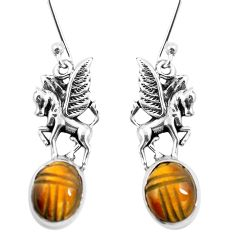 Natural brown tiger's eye 925 sterling silver unicorn earrings m74232