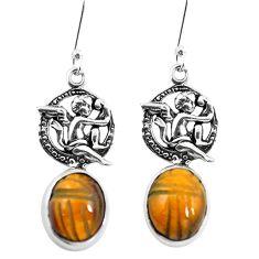Natural brown tiger's eye 925 silver cupid angel wings earrings m74237