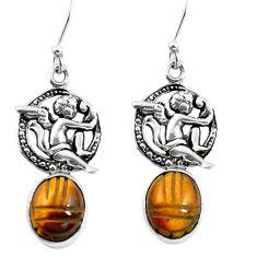 Natural brown tiger's eye 925 silver cupid angel wings earrings m74238