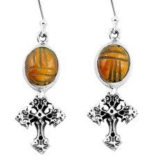 925 sterling silver natural brown tiger's eye holy cross earrings m74240
