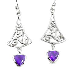 Natural purple amethyst 925 sterling silver dangle earrings m74783