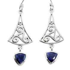 Natural blue iolite 925 sterling silver dangle earrings jewelry m74786